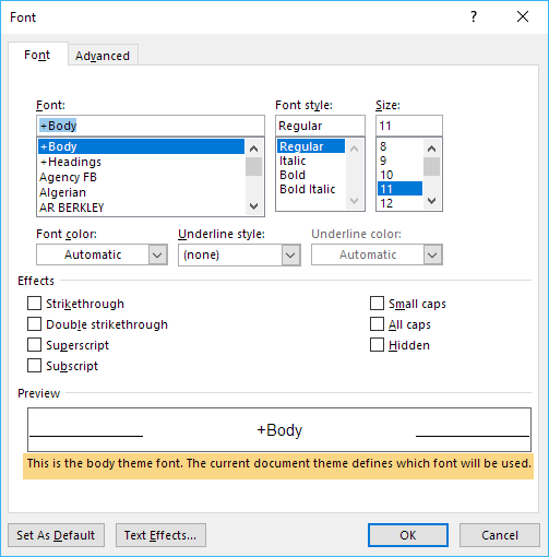Special case of font value in the Font dialog box
