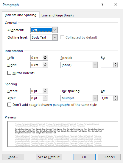 Paragraph dialog box showing all values