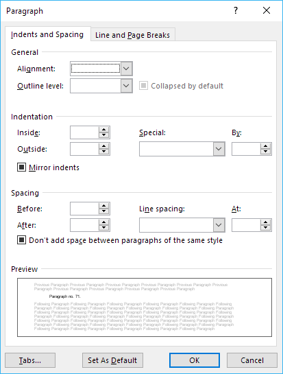 Paragraph dialog box showing blank and grayed out values only