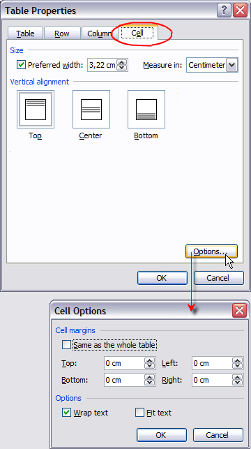 Table Properties, Cell Options