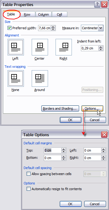 Table Properties, Table Options