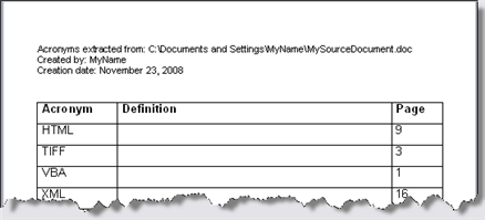 example of acronyms extracted to a new document