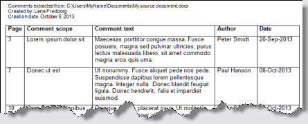 Example of comments extracted to a new document