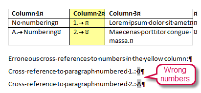 Cross-reference fields to numbered items in table cells refer to the wrong numbers