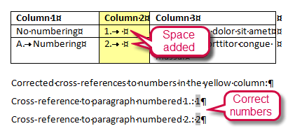 Cross-reference field shows wrong number because the bookmakr encloses the entire row instead of the cross-reference paragraph only