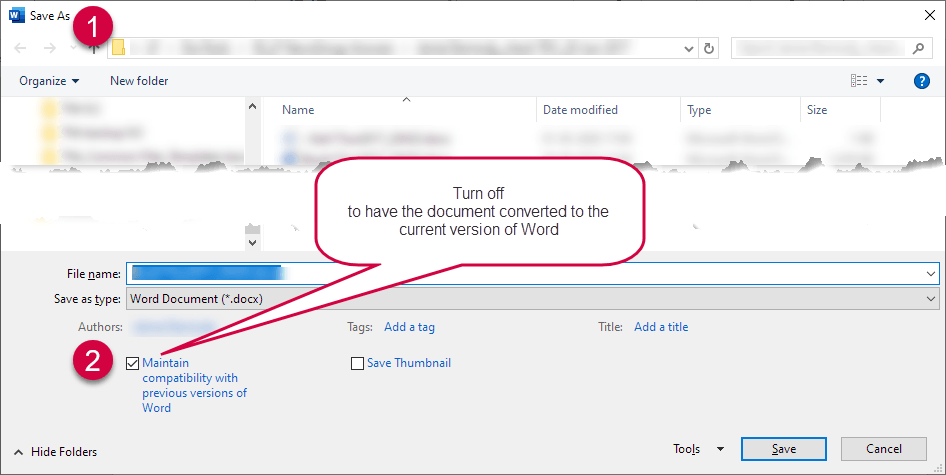 In the Save As dialog box, turn off Maintain compatibility with previous versions of Word