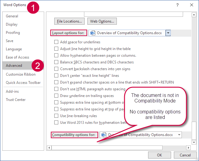 The layout options and compatibility options in Word 2007 and later versions are found near the bottom of the Word Options dialog box > Advanced category
