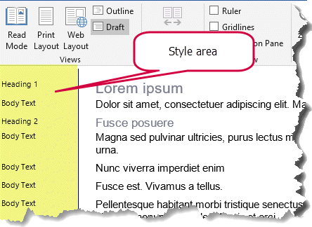 Example of style area pane