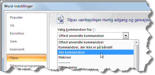 Vælg Alle kommandoer for at få listet alle kommandoer i Word.