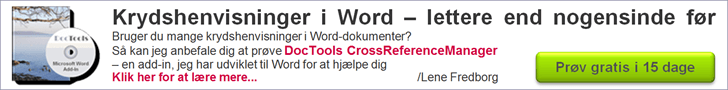 DocTools CrossReferenceManager - krydshenvisninger i Word - lettere end nogensinde før