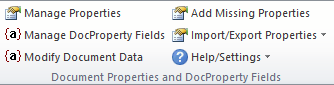 Gruppen Document Properties and DocProperty Fields på fanen DocTools i Båndet.